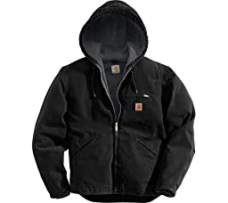 Carhartt Men\'s Sherpa Lined Sandstone Sierra Jacket J141,Black,Large