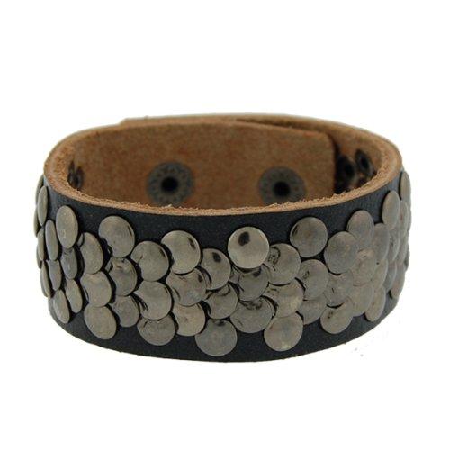 Genuine Leather Sequin Black Vintage Biker Bracelet