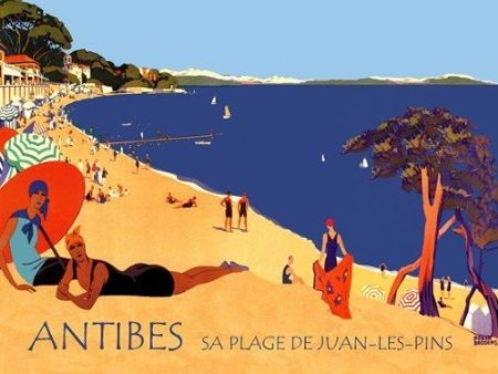 """Ladies On The Beach Ocean Antibes Juan Les Pins France French. Art Deco Style 12"""" X 16"""" Image Size Vintage Poster Reproduction"""