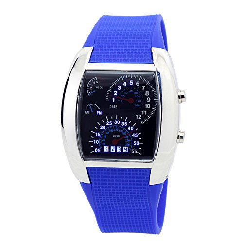 Sotijobs Cool Rpm Turbo Flash Digital Led Sports Watch Gift Car Meter Dial For Men (Dark Blue)
