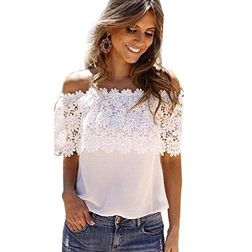 Blouses,Toraway Women Sexy Off Shoulder Casual Lace Crochet Chiffon Blouse Tops (Large)