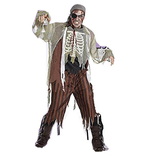 HDE Men's Zombie Ghost Buccaneer Pirate Halloween Costume Party Outfit