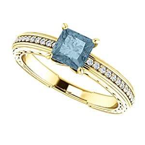 14K Yellow Gold Princess Cut Blue and White Diamond Engagement Ring