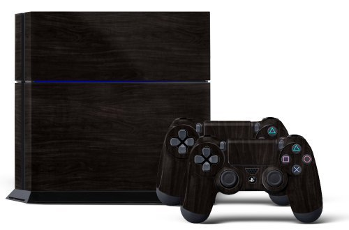 PS4 Console Designer Skin for Sony PlayStation 4 System plus Two(2) Decals for: PS4 Dualshock Controller Darkwood