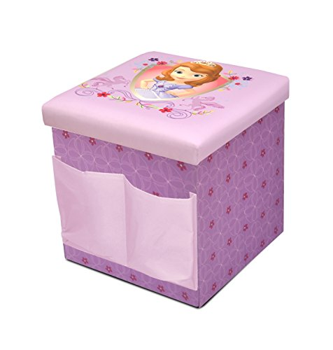 Disney sofia the first sit and store folding ottoman toy for Ottoman to sit on