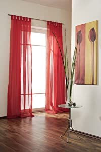 gardine schal store dekoschal vorhang schlaufen universalband voile 140 x 300 extra lang rot. Black Bedroom Furniture Sets. Home Design Ideas