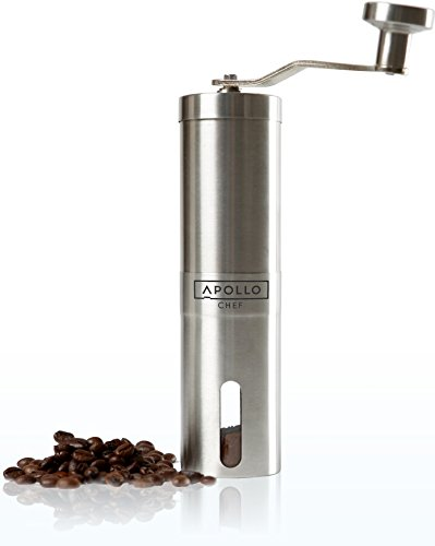 Apollo Chef Manual Coffee Grinder and Mill with Adjustable Conical Ceramic Burr and Stainless Steel Handle