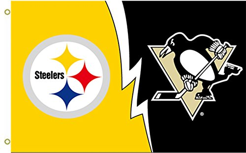 Pittsburgh Steelers and Penguins Nation Large Flying Flag 3x5 Feet