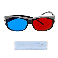 BIRUGEAR Red-blue / Cyan Anaglyph Simple style 3D Glasses for The Final Destination 3D, Call of the Wild 3D, Camp Blood, Friday the 13th part 3 3D, Jonas Brothers 3D, Fly me to the Moon, Shark boy and Lava Girl with *Cleaning Cloth*