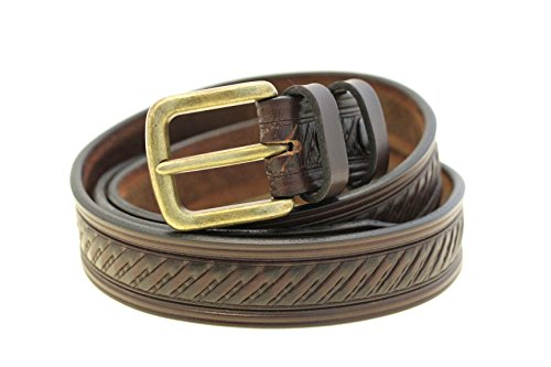 Mens 1 3/8 Dark Brown Bridle Leather Embossed Belt Antique Brass Buckle Size 56