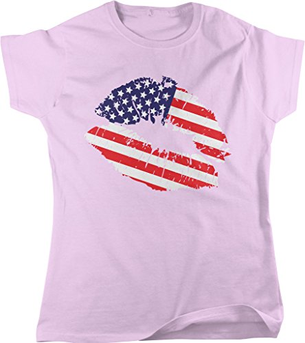 American Lips, American Kiss, Lips with US Flag, US Pride Women's T-shirt, NOFO Clothing Co. XL Pink (Vietnam Service Flag compare prices)