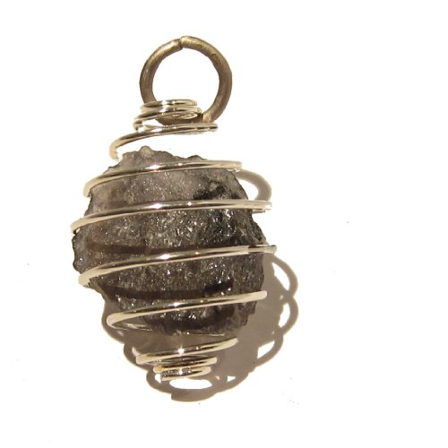 Iolite Pendant 02 Silver Cage Raw Nugget Indigo Blue Spiral Crystal Stone 1.2