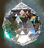 Feng Shui AB Coated Crystal Hanging Faceted Sphere: 40mm
