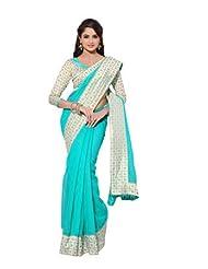 Aqua Blue Pure Heavy Silk Gold Foiel Print Kora Silk Designer Saree With Blouse SASPR218