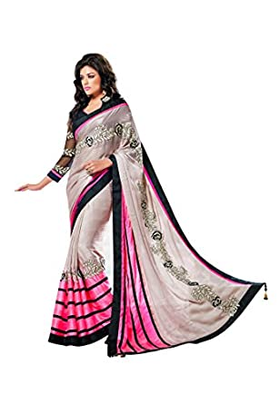 Fabdeal Indian Designer Georgette Black Embroidered Saree available at Amazon for Rs.6039
