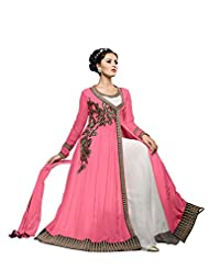 Aarti Saree Trendy Fashionable Pink And White Straight Suit With Heavy Embroidery Work