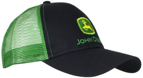 John Deere Men`s Logo Contrast Mesh Back Core Baseball Cap, Black, One Size