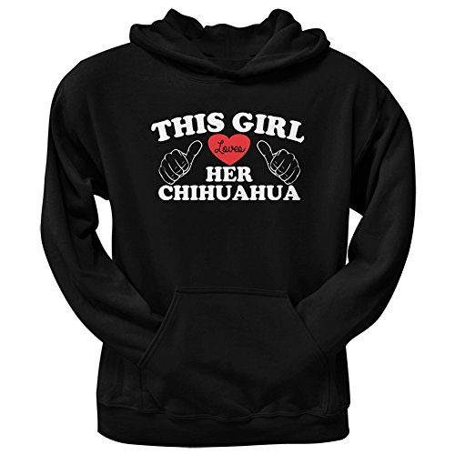 This Girl Loves Her Chihuahua Black Adult Pullover Hoodie