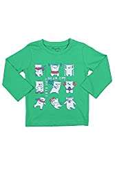 Chirpie Pie by Pantaloons Boy's Round Neck T-Shirt (205000005609858, Green, 18-24 Months)