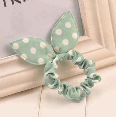 Polka dot head accesories rabbit ears headband (White and green) (Easy Pinup Hair)