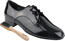 Very Fine Men\'s Salsa Ballroom Tango Latin Dance Shoes Style CD9416 Bundle with Dance Shoe Wire Brush, Black Patent 10.5 M US Heel 1 Inch