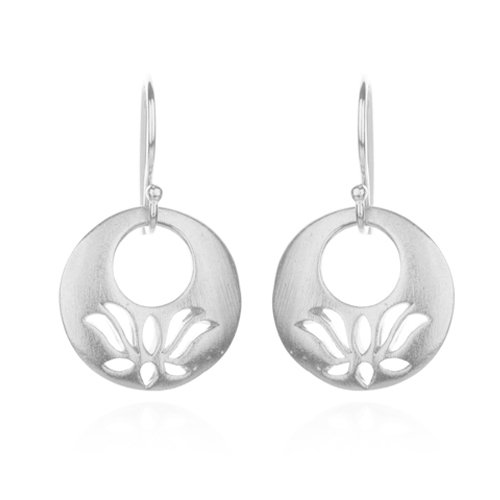 Satya Jewelry Silver Lotus Eyelet Earrings