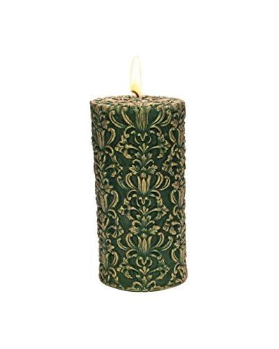 Volcanica Paramount Pillar Candle, Green/Gold, Medium