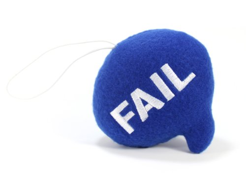 "Throwboy Throwbabies ""FAIL"" Chat Mini 3.5"" Throw Pillow, Blue - 1"