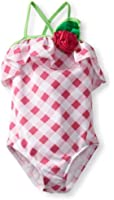 Love U Lots Little Girls'  1 Piece Swimsuit Gingham Check With Rose And Ruffle