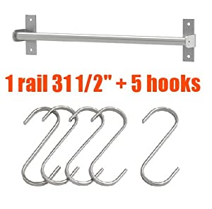 "Ikea Grundtal 31"" Rail + 5 Hooks Stainless Steel Untensil Hanger Pot Pan Holder Kitchen Storage Organizer Set"