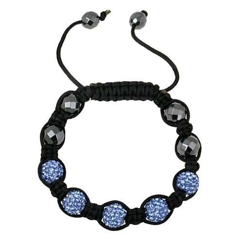 Bright Blue Crystal Fireball and Faceted Hematite Shamballa Bracelet