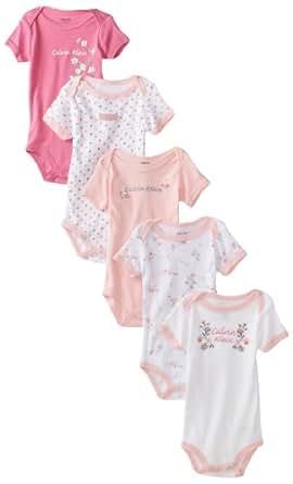Calvin Klein Baby-girls Newborn 5 Piece Pack Bodysuit, Assorted, 0-3 Months