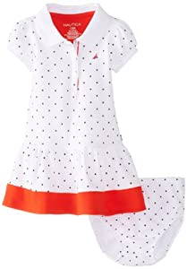 Nautica Baby-Girls Infant Polka Dot Pique with Contrast Hem Dress from Nautica