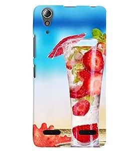 Printvisa Premium Back Cover Yummy Strawberry Summer Drink Design For Lenovo A6000 Plus