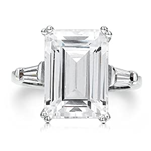 BERRICLE Sterling Silver 925 Huge Emerald Cut Cubic Zirconia Solitaire Ring Size 5