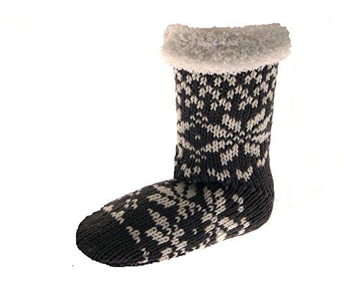 Womens Ladies Girls Kids Luxury Fur Lined Knitted Wool Slipper ...