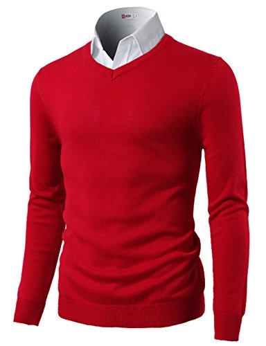 H2H Men's Polo V-Neck Pima Cotton Pony Logo Sweater RED US M/Asia L (CMOSWL015)