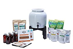 PREMIUM Kombucha Continuous Brew Kit System - Drink Kombucha Tea On Tap (Making A Lifetime Of Home Brewed Kombucha Tea Easy For You) GetKombucha® - Includes 2.5 Gallon Porcelain Brewing Vessel w/ Handcrafted Wood Brewer Stand - 2 Non Dehydrated HUGE Orga