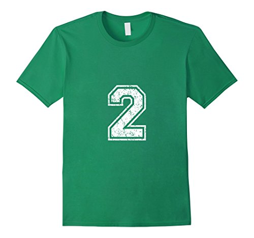 Men's Number 2 Shirt Distressed Look XL Kelly Green (Numbered Shirts compare prices)