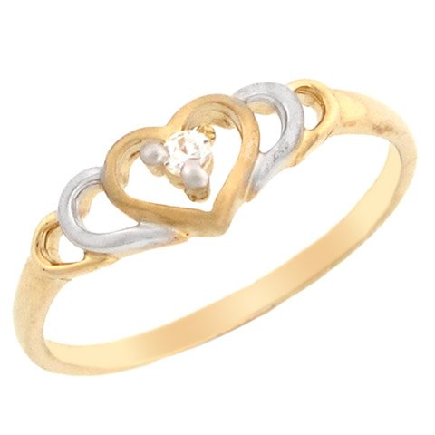 14k Two-tone Gold Extendend Heart Promise Ring with Round Diamond