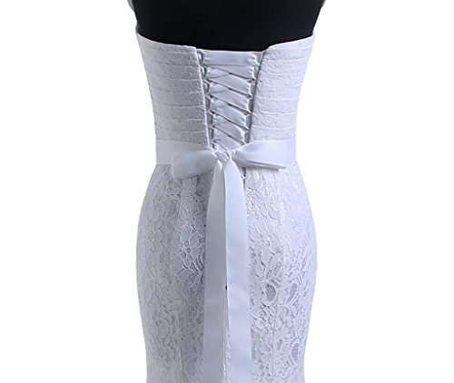 Beautyprom Women's Lace Mermaid Bridal Wedding Dresses White US12
