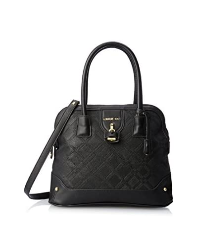 London Fog Women's Lark Dome Satchel, Black