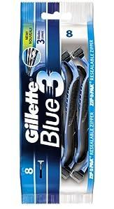 Gillette - Blue3 - Rasoir Jetables - Sachet Refermable de 8 Rasoirs