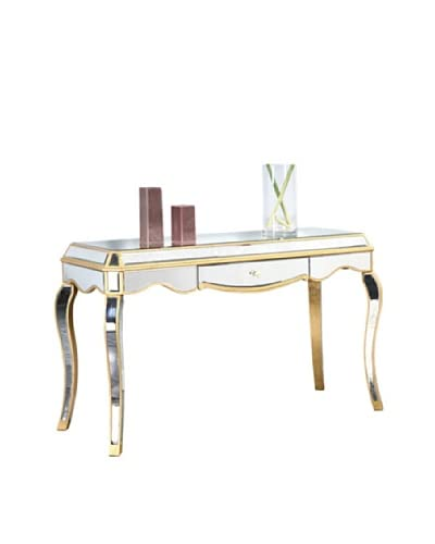 Camille Mirrored Desk, Gold Leaf