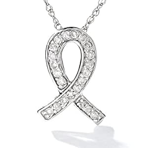 0.10 Carat (1/10 ctw.) Designer Geniune Channel Set Diamond Stones - 10MM .925 Italian Sterling Silver Breast Cancer, AIDS, Veterans, Child Abuse & Autism Awareness Ribbon Diamond Pendant (0.10 ctw, I-J Color, I2-I3 Clarity) (16 Inches, .925 Italian Sterling Silver)