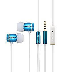 SLANZER Brand Premium Quality Ear Phone With MIC for Samsung, MicroMax, Sony Xperia, Motorola, Nokia Lumia, HTC, Google Nexus, LG, iPhone Mobile & Tablets - Blue (SZE N206BL)