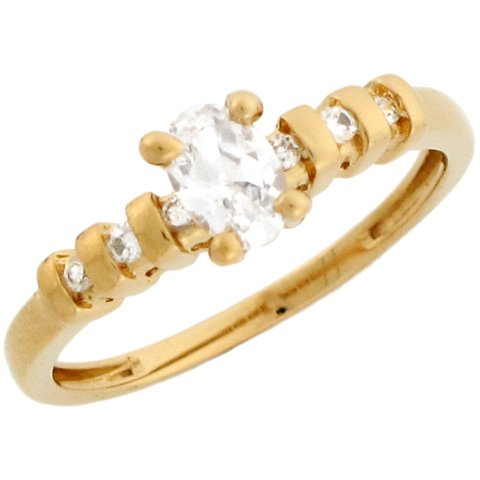 14k Solid Yellow Gold Oval White CZ Promise Ring with Round CZ Accents