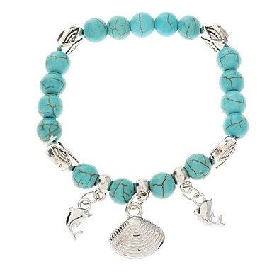 DDL-Vintage Bohemian Style Turquoise Chain Bead Bracelet