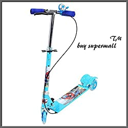 Supermall kids Scooter with Led Wheels, adjustable height, Brakes and Bell (blue)