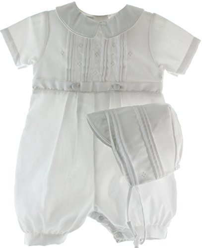 White Cotton Blend Pique Christening Baptism Knicker and Hat - Size 9 Month